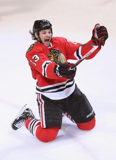 Dan Carcillo celebrated his game winning goal with :49 seconds left in regulation against the Avalanche 3/6/13 (Photo via Blackhawks Facebook)